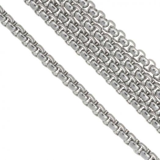 Stainless Steel Gliederkette (2.5 x 2.5 mm) Altsilber (2.5 Meter)