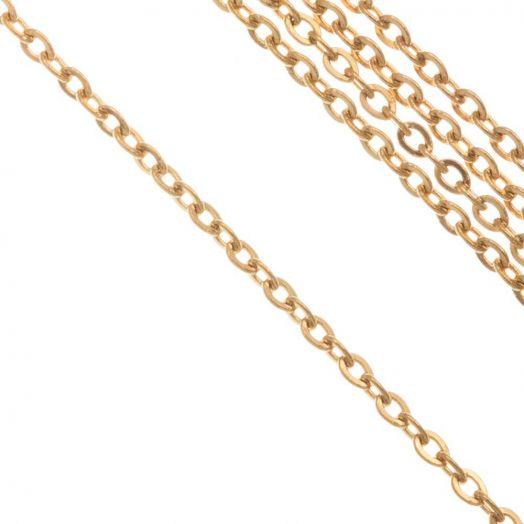 Stainless Steel Gliederkette  (2 x 1.5 x 0.4 mm) Gold (10 Meter)