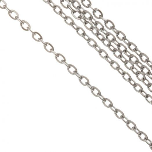 Stainless Steel Gliederkette  (2 x 1.5 x 0.4 mm) Altsilber (10 Meter)