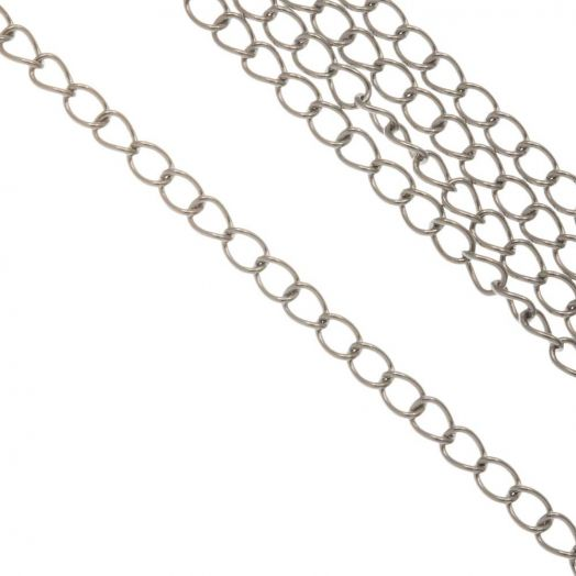 Stainless Steel Gliederkette (3.5 x 2.5 x 0.5 mm) Altsilber (10 Meter)