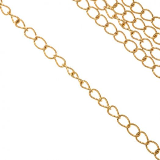 Stainless Steel Gliederkette (3.5 x 2.5 x 0.5 mm) Gold (10 Meter)