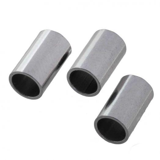 Stainless Steel Röhrchen (10 x 6 mm) Altsilber (5 Stück)