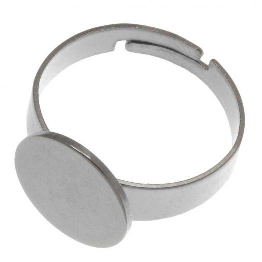 Stainless Steel Verstellbare Ring (Fach 12 mm) Altsilber (5 Stück)