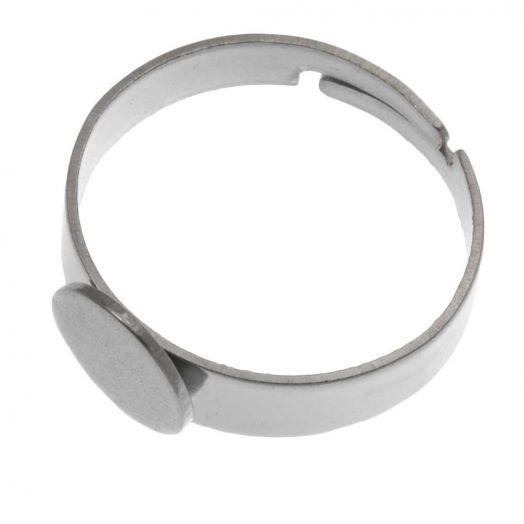 Stainless Steel Verstellbare Ring (Fach 8mm) Altsilber (5 Stück)