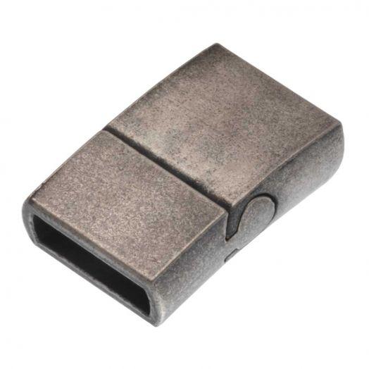 Stainless Steel Magnetverschluss Matt (Innenmaß 10 x 3 mm) Gunmetal (1 Stück)