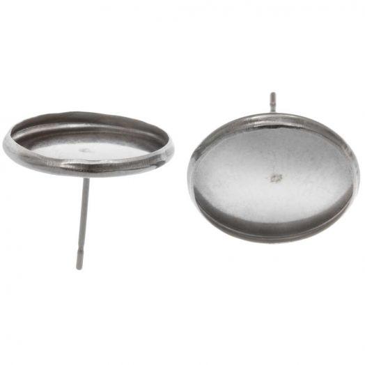 Stainless Steel Ohrstecker (Fassung 14 mm) Altsilber (20 Stück)