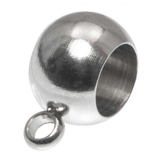 Stainless Steel Charmträger (Innenmaß 4 mm) Altsilber (10 Stück)