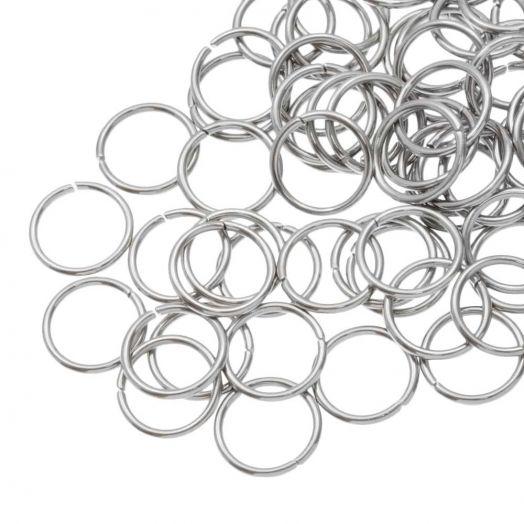 Stainless Steel Biegeringe (10 mm Dicke 1 mm) Altsilber (100 Stück)