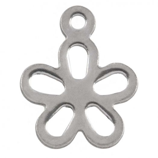 Stainless Steel Charm Blume (14 x 11.5 mm) Altsilber (25 Stück)