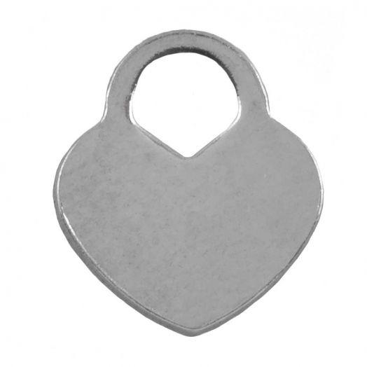 Stainless Steel Charm Herz (11 x 10 mm) Altsilber (25 Stück)