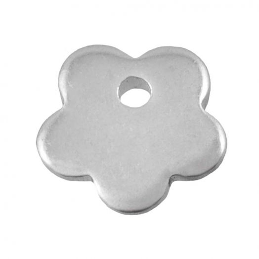 Stainless Steel Charm Blume (7 x 7 mm) Altsilber (25 Stück)