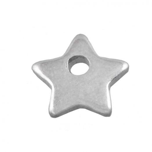 Stainless Steel Charm Stern (6 x 6 mm) Altsilber (50 Stück)