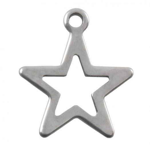 Stainless Steel Charm Stern (14 x 12 mm) Altsilber (50 Stück)