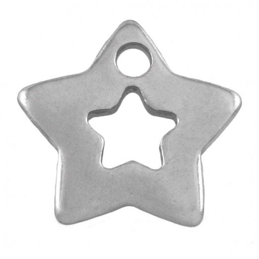 Stainless Steel Charm Stern (11 x 11 mm) Altsilber (50 Stück)