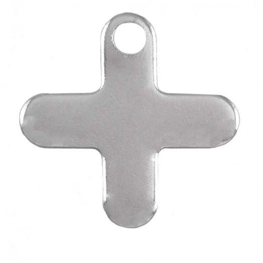 Stainless Steel Charm Kreuz (12 x 12 mm) Altsilber (50 Stück)