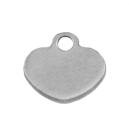 Stainless Steel Charm Herz (6 x 6 mm) Altsilber (100 Stück)
