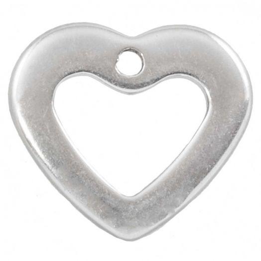 Stainless Steel Charm Herz (11 x 10 mm) Altsilber (100 Stück)