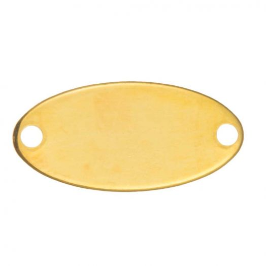 Stainless Steel Charm Oval (17 x 8 mm) Gold (10 Stück)