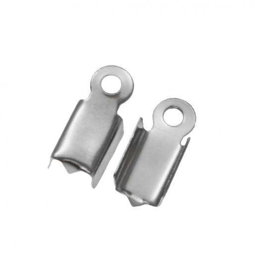 Stainless Steel Kordelklemme (für 2 mm leder oder 3 mm faux wildleder) Altsilber (25 Stück)