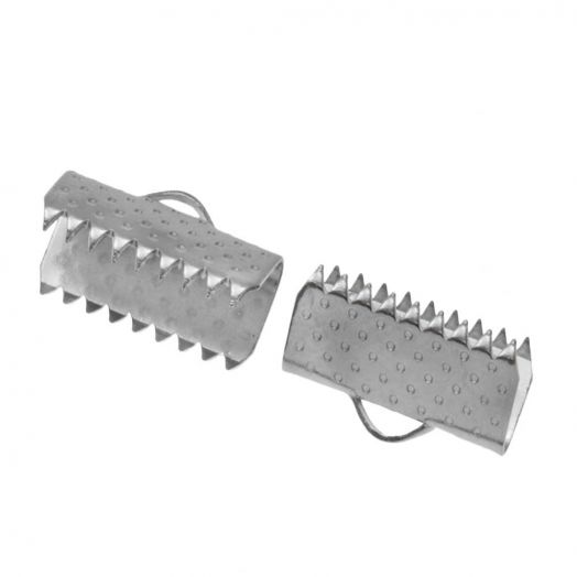 Stainless Steel Bandklemme (10 mm) Altsilber (20 Stück)