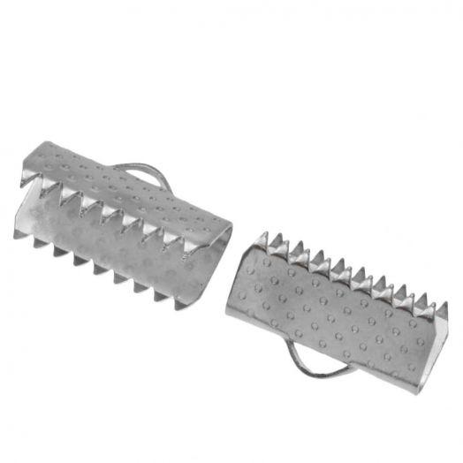 Stainless Steel Bandklemme (13 mm) Altsilber (20 Stück)