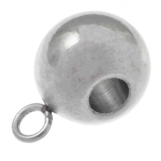 Stainless Steel Charmträger (Innenmaß 3 mm) Altsilber (20 Stück)