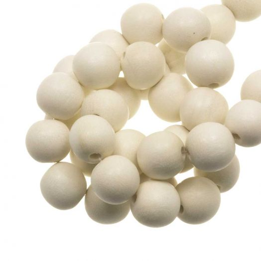 Holzperlen Intense Look (16 mm) White (25 Stück)