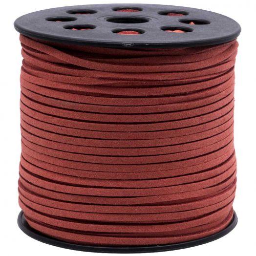 Kunst Wildlederband (3 mm / 1.5 mm) Rusty Red (90 Meter)