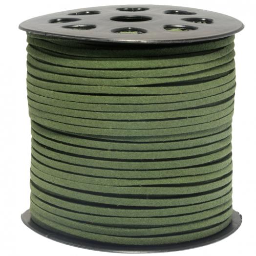 Kunst Wildlederband (3 mm / 1.5 mm) Cactus Green (91 Meter)