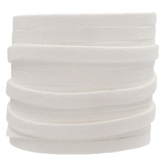 Kunst Wildlederband (5 mm / 1.5 mm) White (5 Meter)