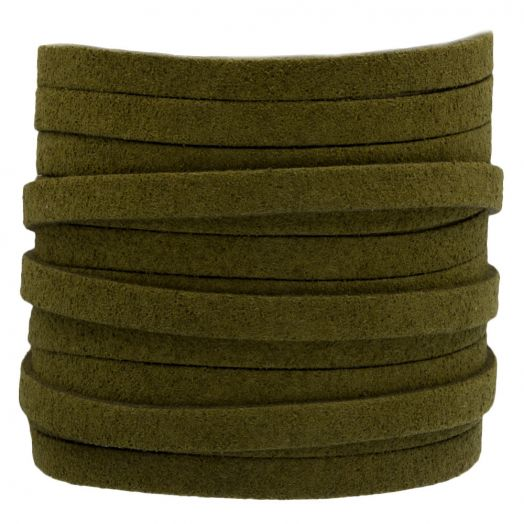 Kunst Wildlederband (5 mm / 1.5 mm) Olive Green (5 Meter)