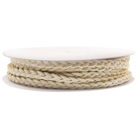 Geflochtenes Kunst Wildlederband (5 mm) Cream White (10 Meter)