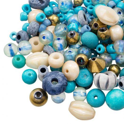 Perlenmischung - Verschiedene (verschiedene Größen) Deep Sky Blue (50 Gramm)