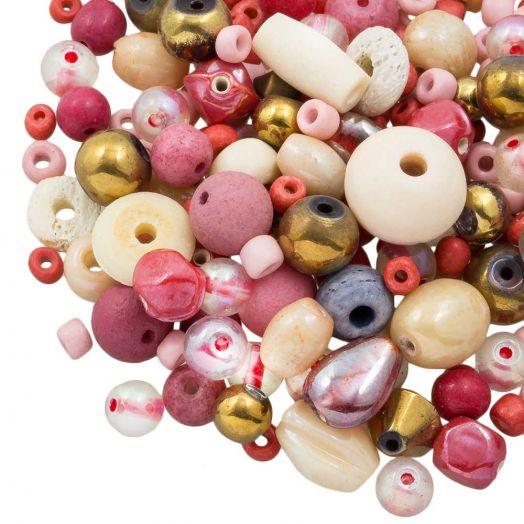 Perlenmischung - Verschiedene (verschiedene Größen) Pink Lemonade (50 Gramm)