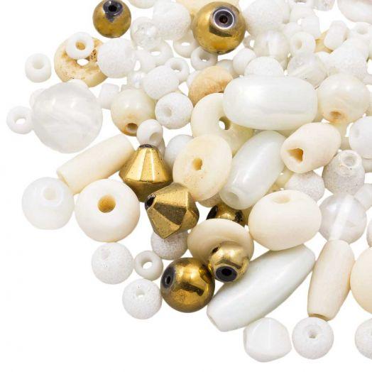 Perlenmischung - Verschiedene (verschiedene Größen) Floral White (50 Gramm)