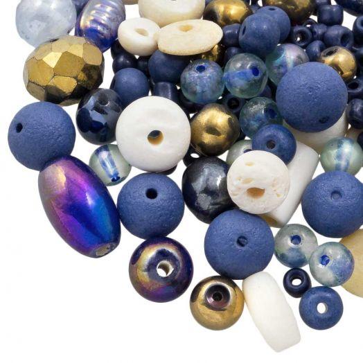Perlenmischung - Verschiedene (verschiedene Größen) Indigo Blue (50 Gramm)