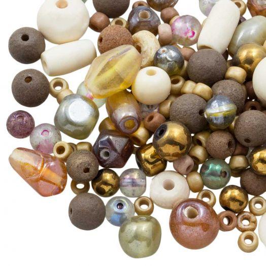 Perlenmischung - Verschiedene (verschiedene Größen) Mocha Brown (50 Gramm)