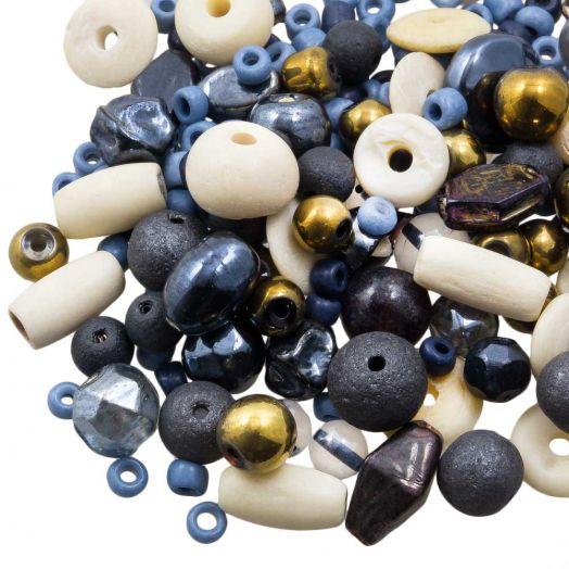 Perlenmischung - Verschiedene (verschiedene Größen) Cobalt Blue (50 Gramm)