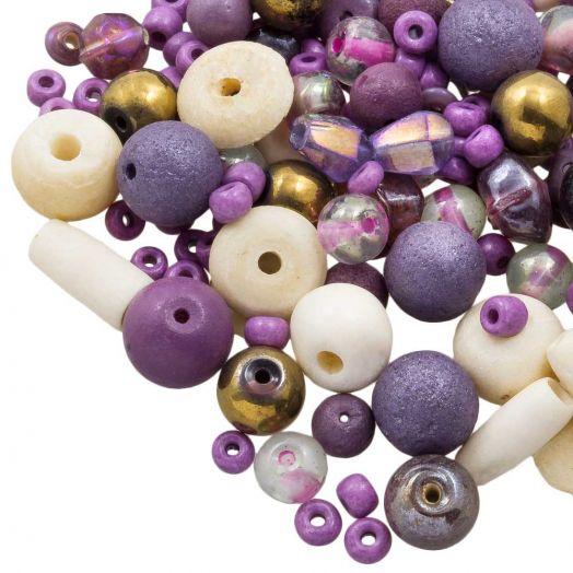 Perlenmischung - Verschiedene (verschiedene Größen) Purple Party (50 Gramm)