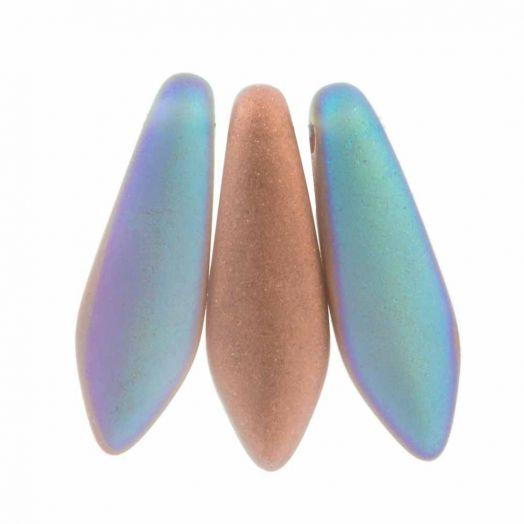 Dagger Glasperlen (5 x 16 mm) Crystal Copper Rainbow Matted (25 Stk.)
