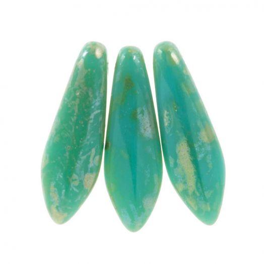 Dagger Glasperlen (5 x 16 mm) Jade Picasso (25 Stk.)