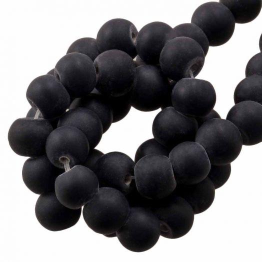 Glasperlen Matt (6 -7 mm) Black (35 Stück)