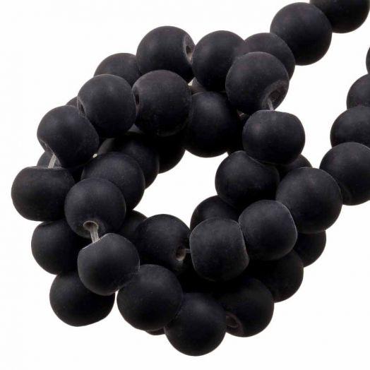 Glasperlen Matt (8 - 9 mm) Black (28 Stück)