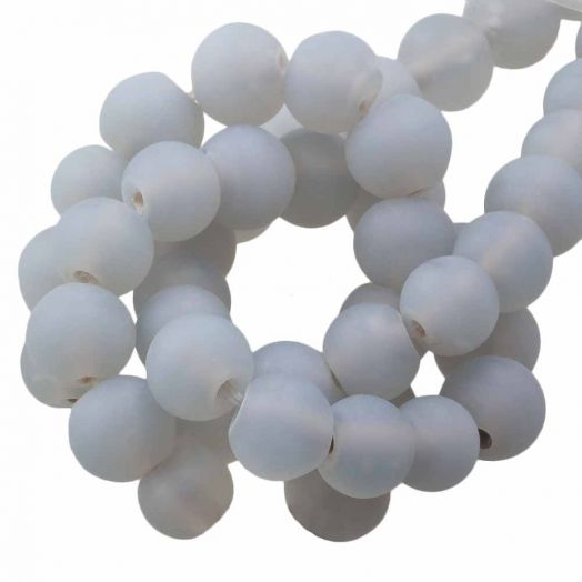 Glasperlen Matt (8 - 9 mm) Chalk Grey (28 Stück)