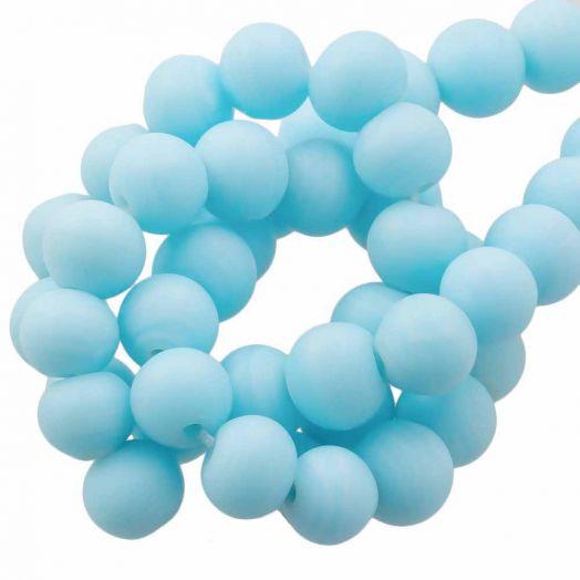 Glasperlen Matt (8 - 9 mm) Sapphire (28 Stück)