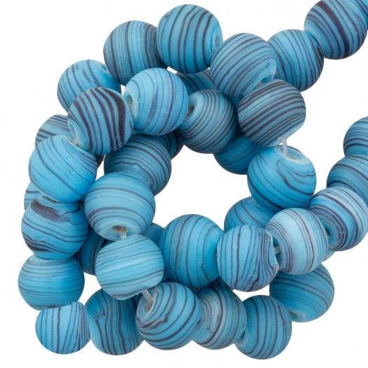 Glasperlen Matt Gestreift (8 x 9 mm) Sky Blue (21 Stück)