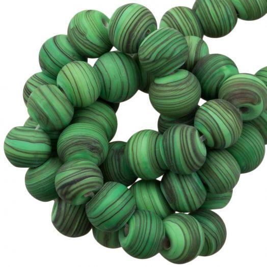 Glasperlen Matt Gestreift (8 x 9 mm) Bright Green (21 Stück)