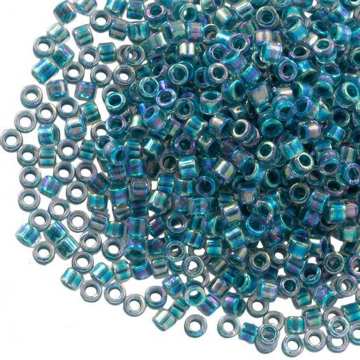 Miyuki Delica (11/0 mm) Marine Blue Lined Crystal AB (10 Gramm)