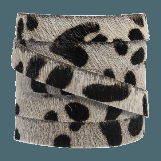 DQ Flaches Leder Safari (10 x 2 mm) Leopard Off white Druck (1 Meter)