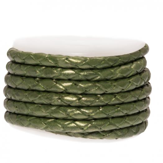 DQ Geflochtenes Leder Metallic (3 mm) Olive Green (2.5 Meter)